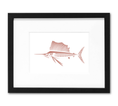 Sailfish Mini Art Print | 5x7 Inch Nantucket Red Billfish Artwork