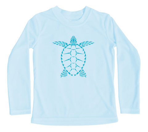 Toddler Swim Shirt - Sea Turtle Long Sleeve UPF Sun Shirt - Baby Blue