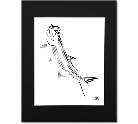 Tarpon Wall Art Print - Silver King Black and White Abstract Artwork