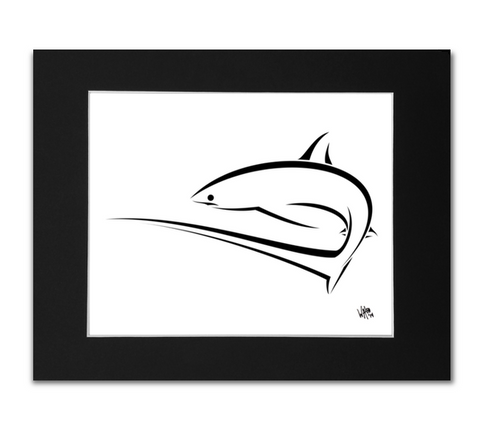 Thresher Shark Art Print - Black Mat 8x10 Print