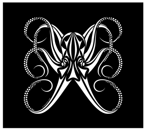 Octopus Car Decal - White Vinyl Tribal Decal For Car Window Or Boat