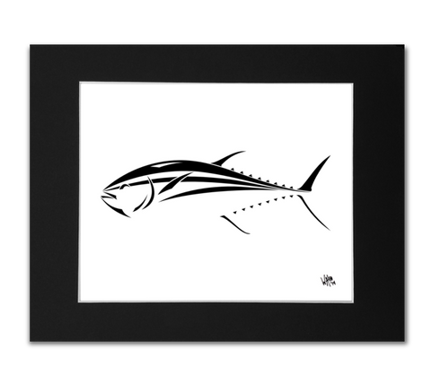 Bluefin Tuna Art Print - Black and White Tuna Design