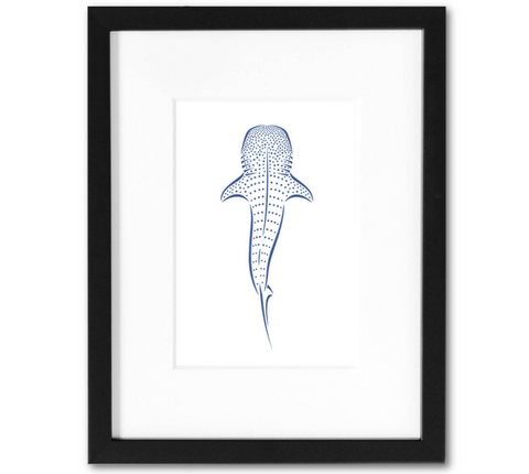 Whale Shark Mini Art Print | 5x7 Inch Navy Blue Whale Shark Artwork