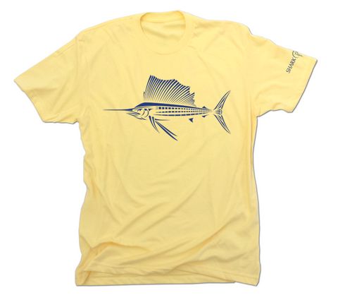 Sailfish Tee Shirt - Yellow Saltwater Fishing Shirt
