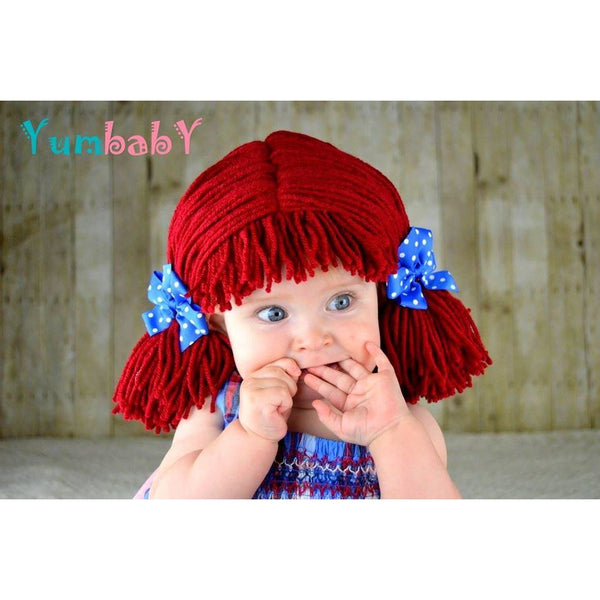 Raggedy Ann Hat - Short Pigtail Made with Thin yarn