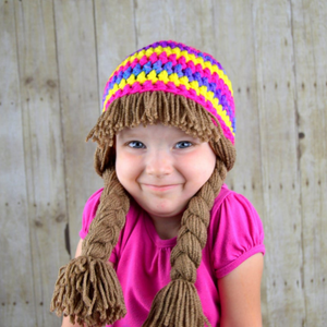 Beanie Braids  - Purple, Pink, Yellow striped