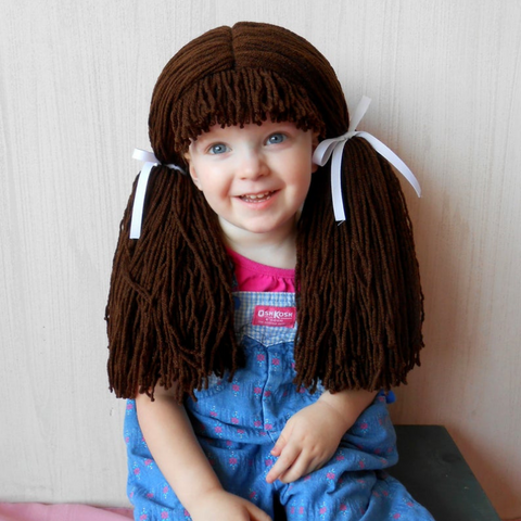 Cabbage Patch inspired Wig - Chocolate Pigtail Hat