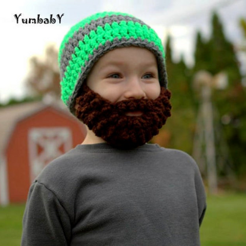 Beanie Beard - Grey and Neon Green with Chocolate Brown beard