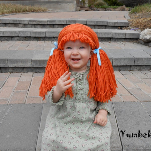 Cabbage Patch inspired Wig - Orange Pigtail Hat