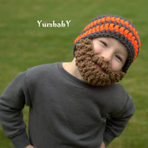 Beanie Beard - Charcoal Grey and Neon Orange