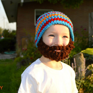 Beanie Beard - Blue, Orange, and Red Stripes