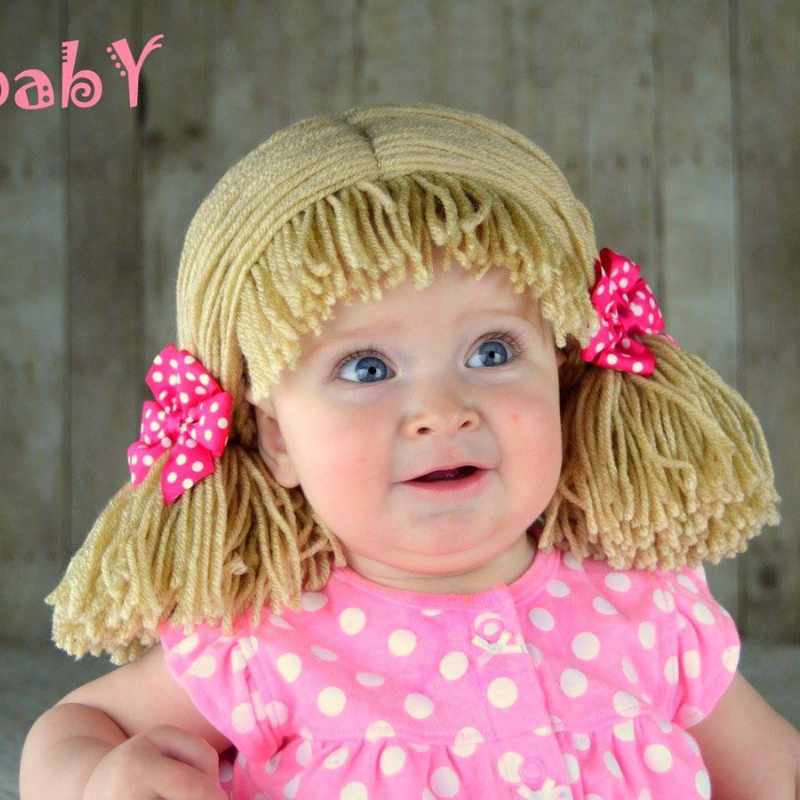 Pigtail hat - Short Beige pigtails