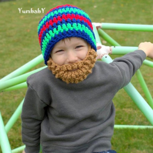 Beanie Beard - Blue with red, and green stripes