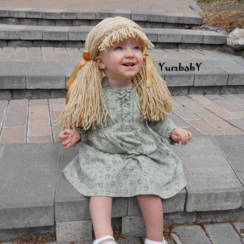 Cabbage Patch inspired Wig - Beige Pigtail Hat