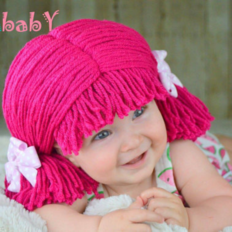 Pigtail hat - Short Hot Pink Pigtails