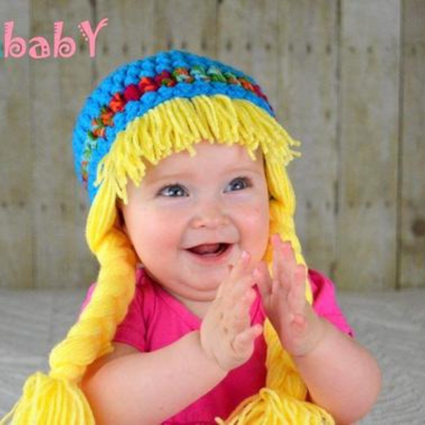 Beanie Braids  - Blue with blonde Braids