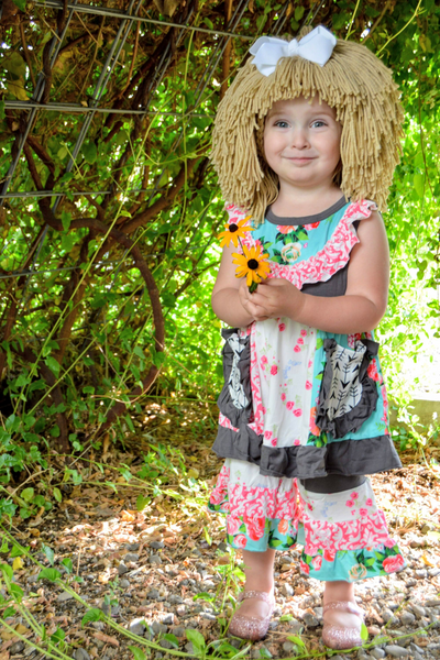 Cabbage Patch inspired Costume and Wig - Grey and  Pink