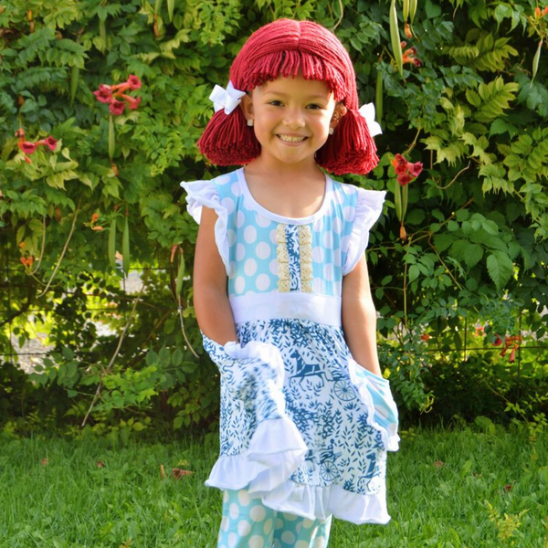 Raggedy Ann Costume and Pigtail Wig - Blue