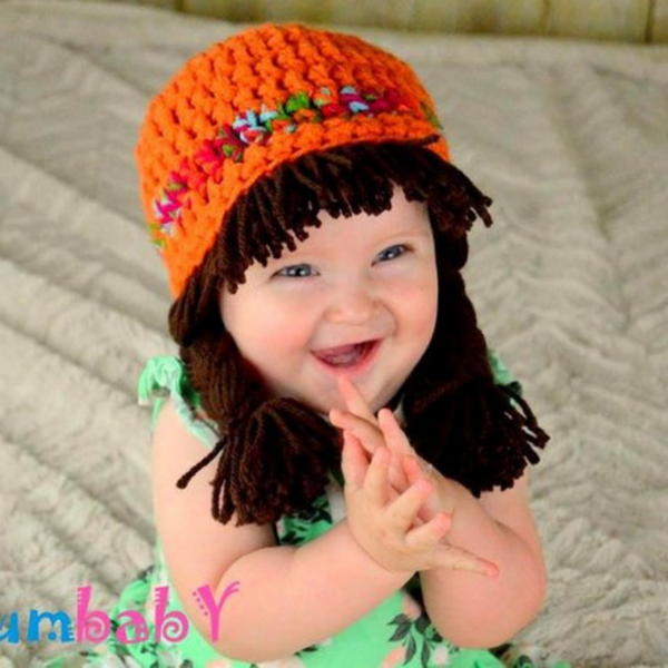 Beanie Braids  - Orange with Brunette braids