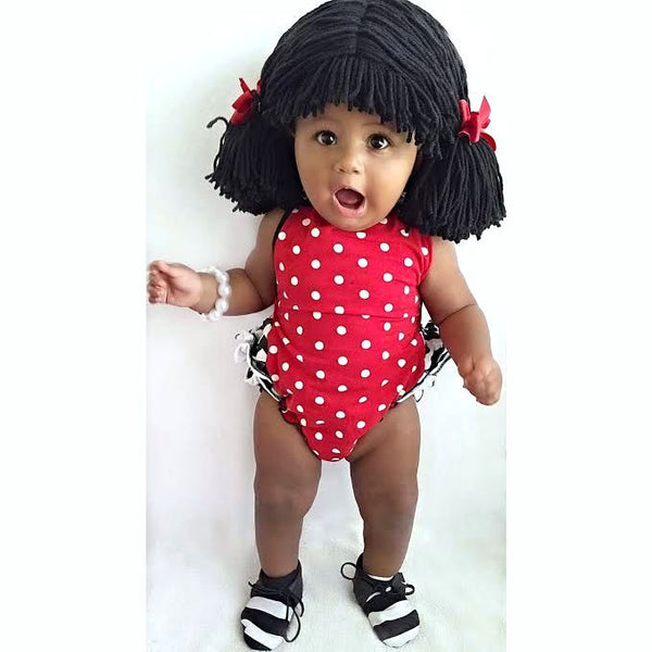 Pigtail hat - Short Black pigtails