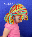 Pigtail hat - Clown wig with short Pigtails