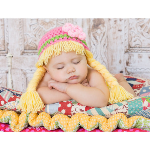 Beanie Braids  - Medium Pink and Blonde with Flower