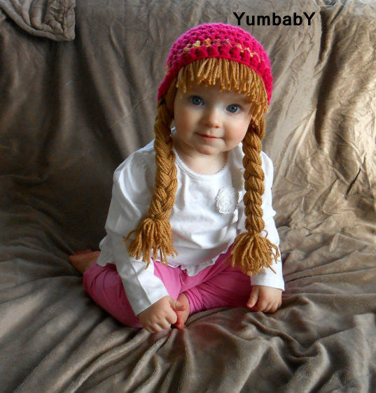 Beanie Braids  - Hot Pink with Light brown Braids
