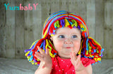 Pigtail hat - Chunky Clown wig with short Pigtails