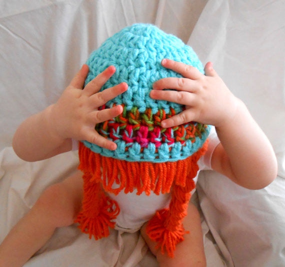 Beanie Braids  - Aqua beanie with Orange braids