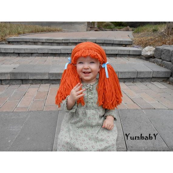 Cabbage Patch Inspired Wig Orange Pigtail Hat Yumbaby Boutique