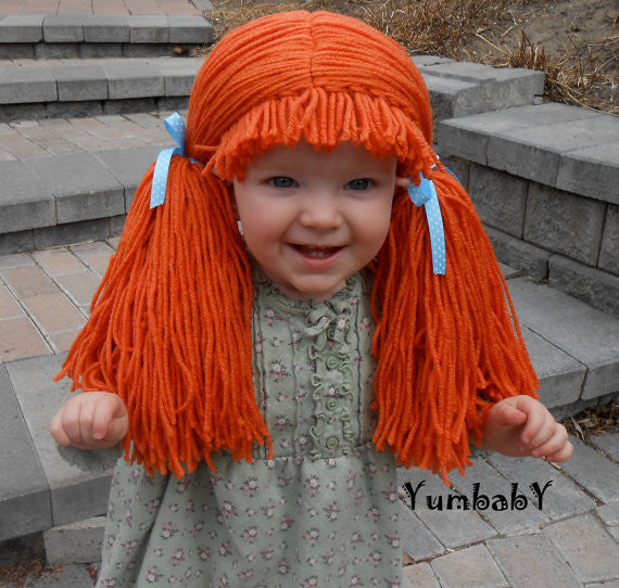 Cabbage Patch Inspired Wig Orange Pigtail Hat Yumbaby