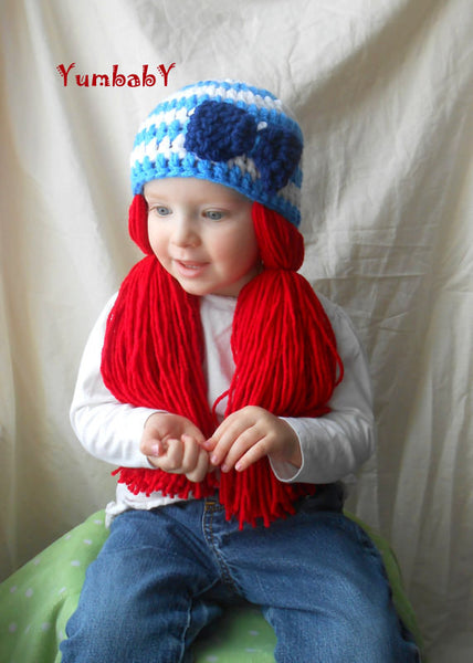 Beanie Braids  - White and Blue with Red loose pigtail