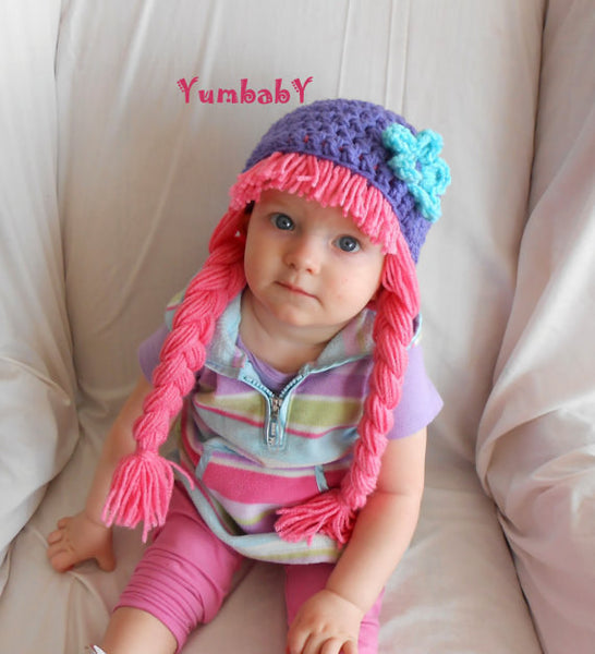 Beanie Braids  - Purple with Pink Hair