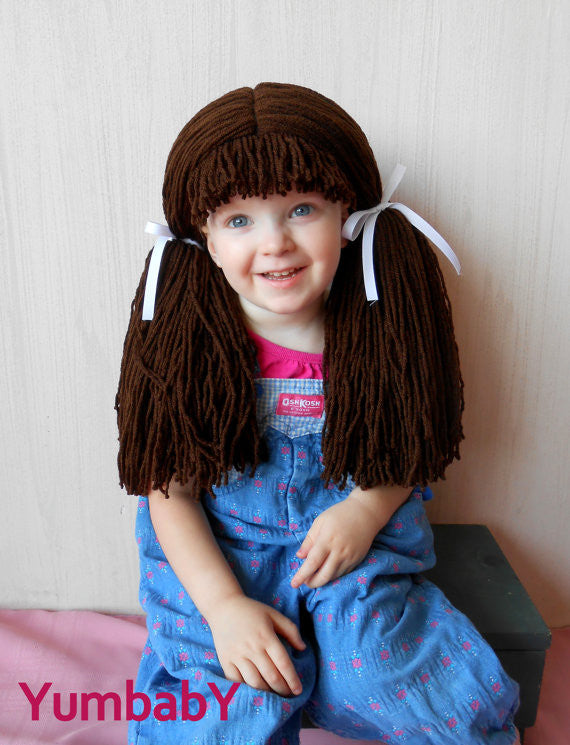 Astonishing Cabbage Patch Inspired Wig Chocolate Pigtail Hat Yumbaby Boutique Short Hairstyles Gunalazisus