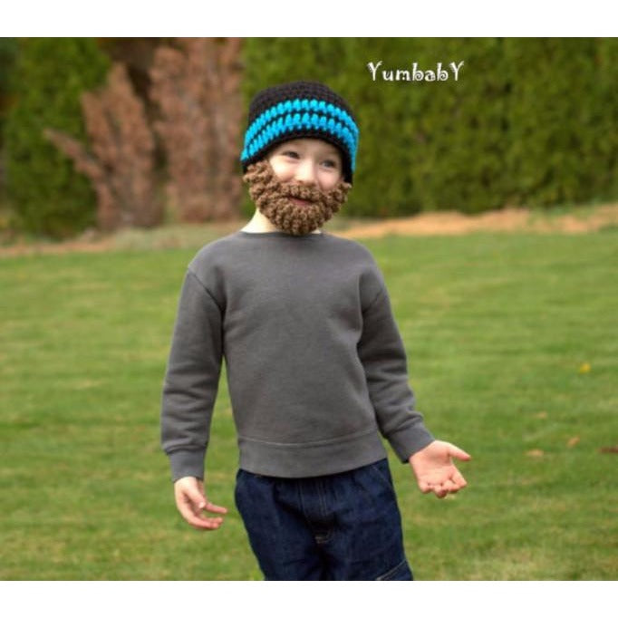 Beanie Beard - Black with Blue stripes