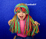 Pigtail hat - Clown wig with longPigtails