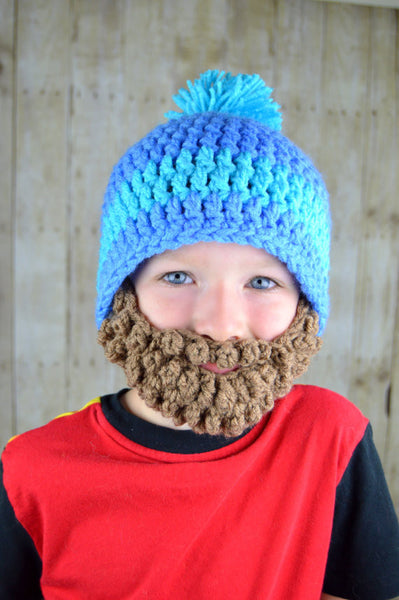 Beanie Beard - Blue and Aqua with a pom pom
