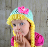Beanie Braids  - Mint with Pink Flower