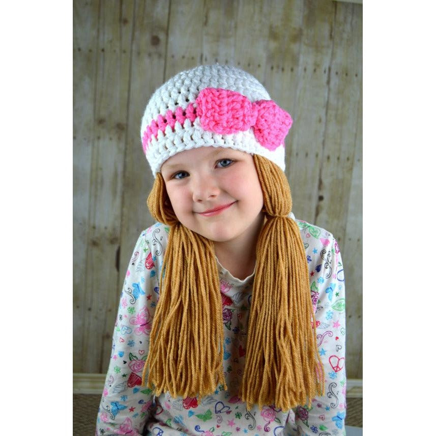 Beanie Braids - White with Medium brown loose pigtail – YumbabY Boutique 6a6c58fd4ad1