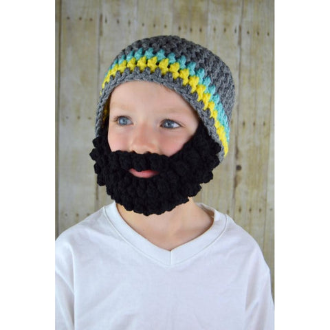 Beanie Beard -Grey with Black Beard