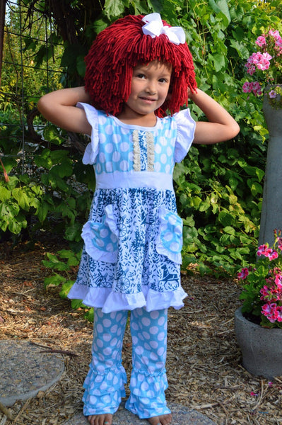 Raggedy Ann Costume and Wig - Blue