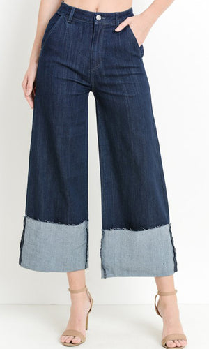 the WIDE CUFF high rise denim