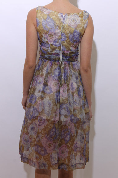vintage 1950's 50's watercolor floral chiffon dress sleeveless fitted waist rhinestone buttons gathered XS-S