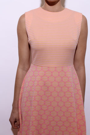 vintage 1960's 60's gingham polka dot maxi dress bright pink orange sleeveless mod M-L