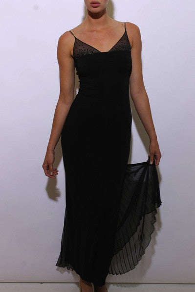 vintage 1990's 90's tadashi gown black studded mesh sleeveless pleated fishtail prom formal XS-S