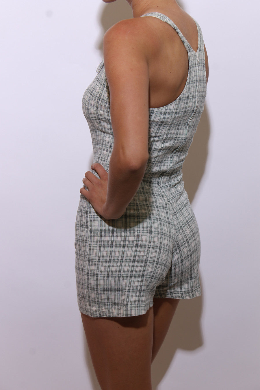 vintage 1990's 90's plaid shorts romper micro mini jumpsuit sleeveless playsuit overalls cream green print XS-S