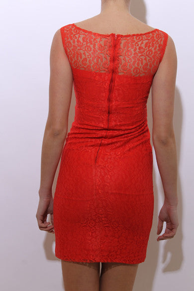 vintage 1960's 60's sleeveless coral lace mini dress neon bright fitted sheath bow mod XS-S
