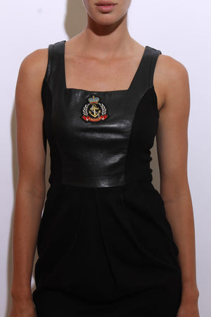 vintage 1980's 80's black mini dress leather sleeveless nautical anchor novelty body con S-M