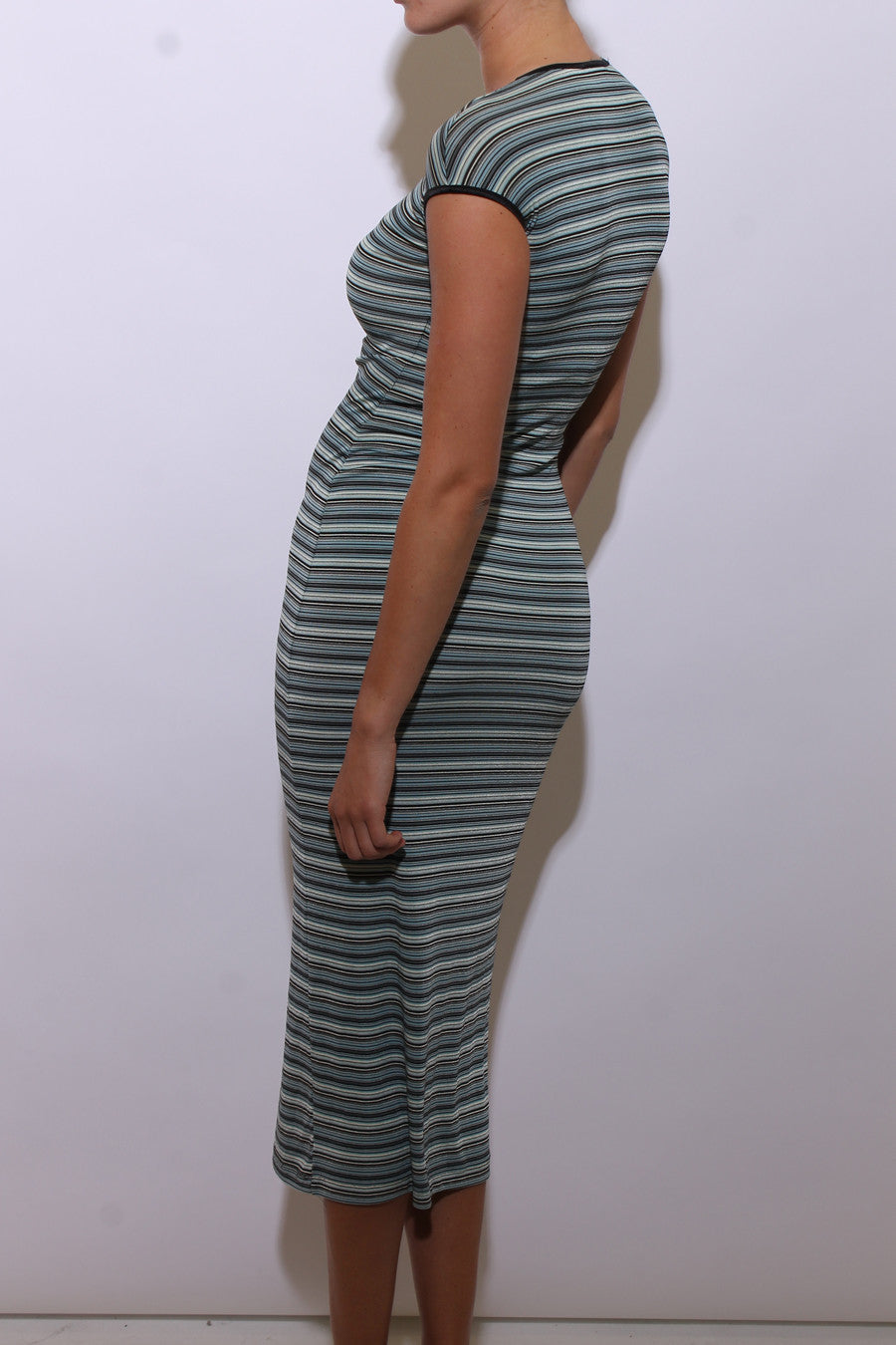 vintage 1990's 90's striped blue maxi dress stretchy side slits body con XS-S