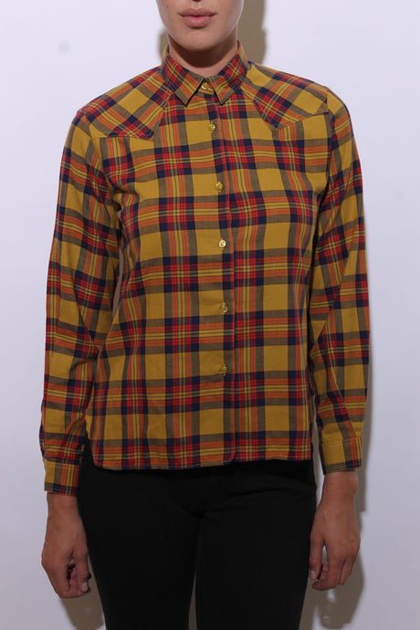 1980's western mustard plaid shirt